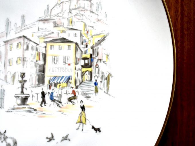 Porcelanowa patera vintage do domu z motywem włoskiej uliczki.