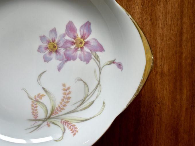 Talerzy retro porcelanowy z motywem kwiatowym i retro.