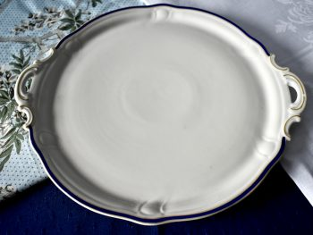 stara patera porcelanowa vintage ze złoceniami i kobaltem naczynia do stołu do ciasta