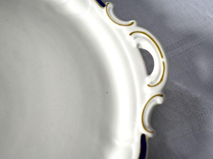 biała, kobal i złoto porcelanowa patera vintage naczynia na stół do domu do ciasta