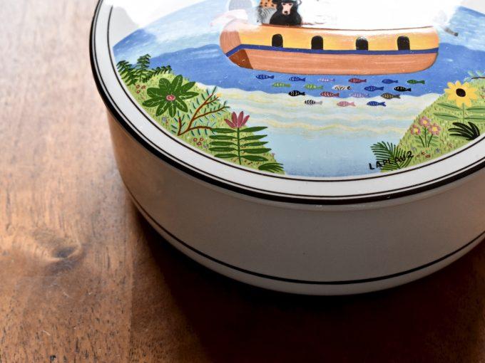 Design Naif marki Villeroy & Boch porcelanowa okrągła maselniczka vintage