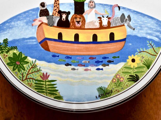 Villeroy & Boch maselniczka porcelanowa z serii design Naif z motywem Arki Noego autorstwa Laplau