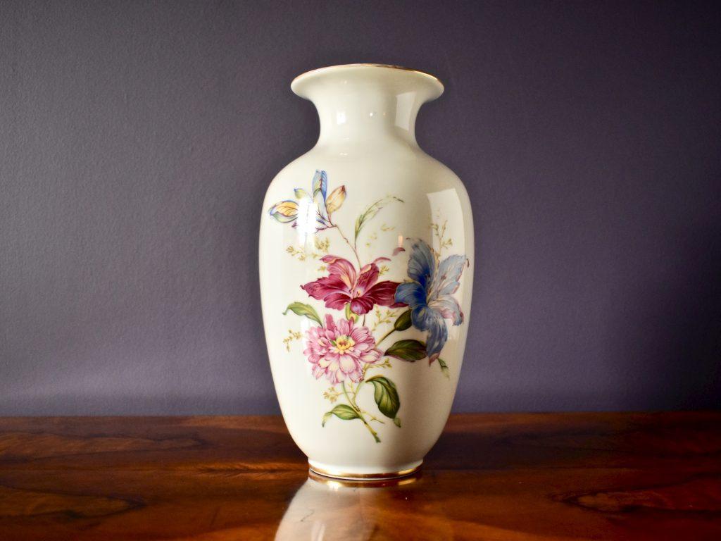 Wysoki wazon porcelanowy vintage wzór kwiatowy kolorowy