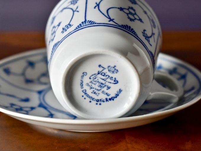Wzór słomkowy filiżanka porcelanowa vintage z sygnaturą