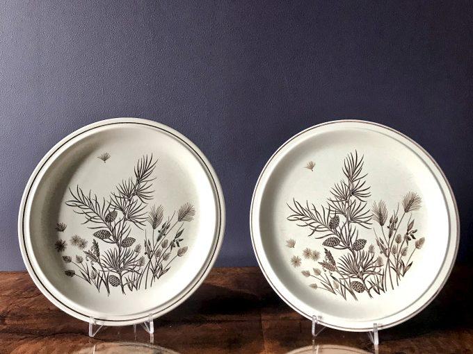 angielskie talerze ceramiczne vintage z motywem roślinnym