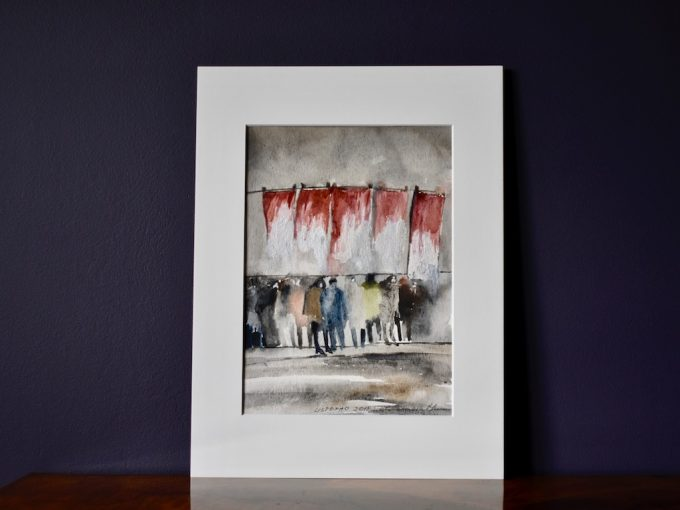 niebo, pejzaż, krajobraz, impresja moraska, obraz Ewa Strebejko - Hryniewicz akwarela, art, sztuka, polska sztuka, contemporary art