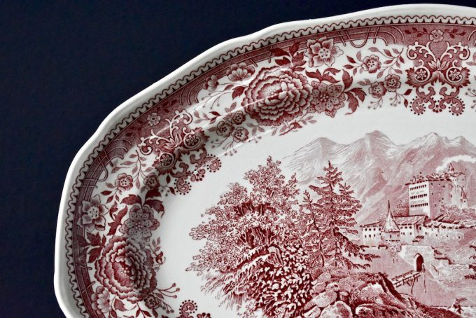 patera półmisek porcelanowy Villeroy & Boch seria Burgenland czerwony retro boho rustykalnie