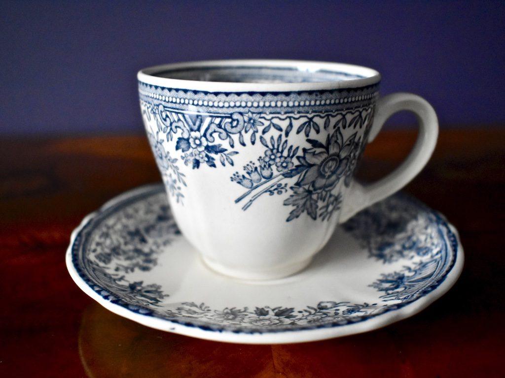 porcelanowa filiżanka Fasan niebieska seria Villeroy & Boch stara boho rustykalnie retro
