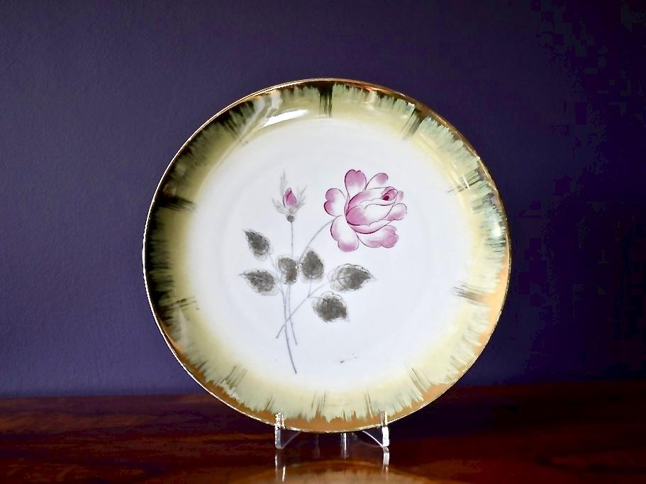 talerz dekoracyjny porcelanowy złocenia i malatura ręczna vintage retro