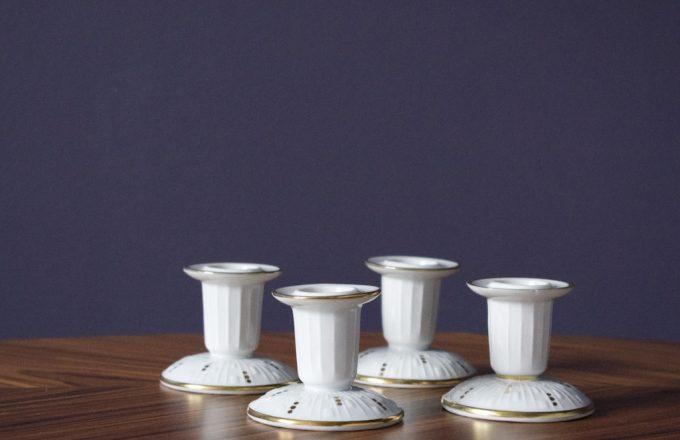 zestaw świeczników porcelanowych