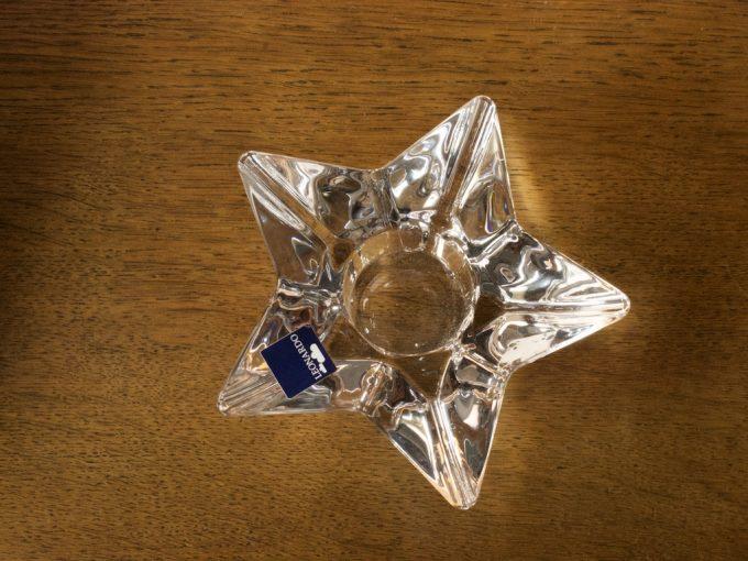 szklany świecznik świąteczny gwiazda