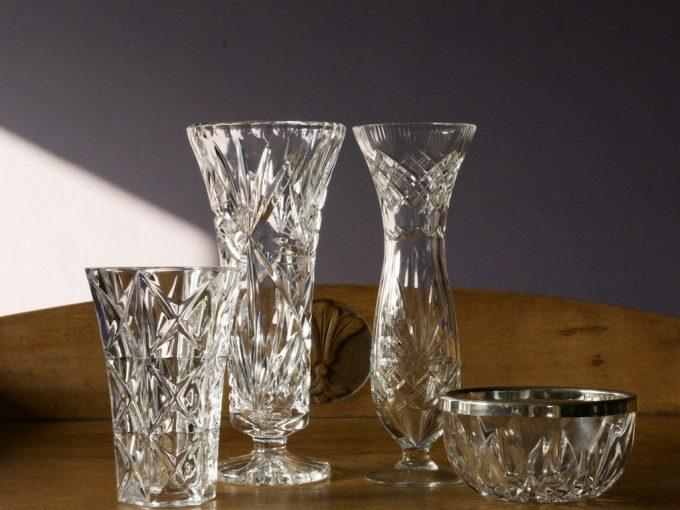 kryształowe dekoracje wazony i naczynia