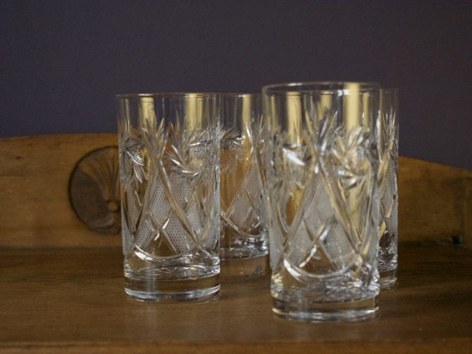 komplet czterech kryształowych wysokich szklanek