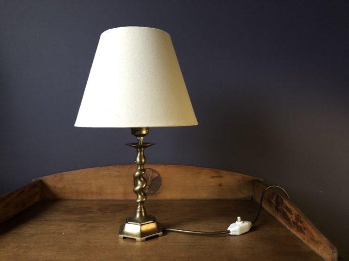 lampa stołowa mosiężna z abażurem
