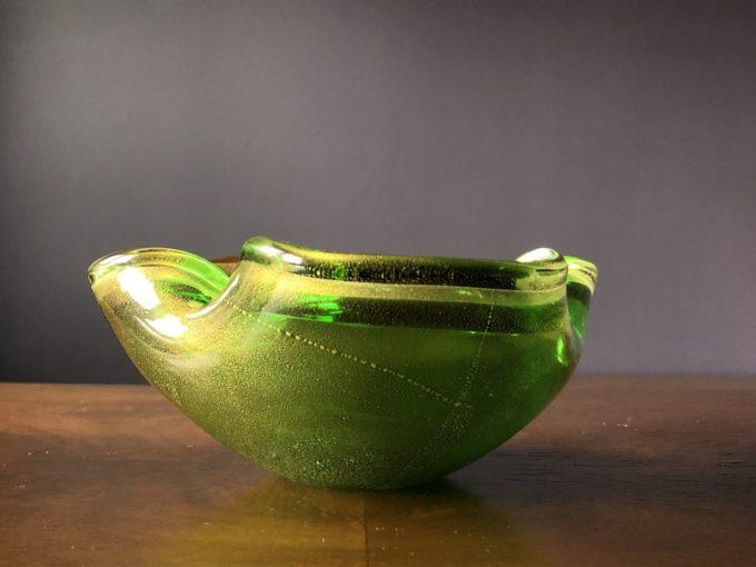 zielone szkło w stylu murano, bohemia