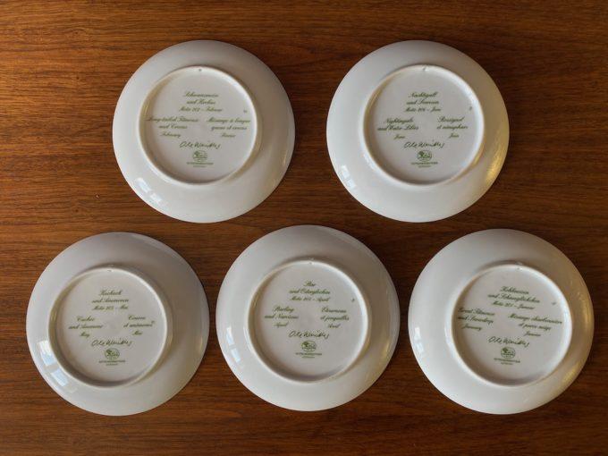 zestaw talerzyków porcelanowych dekoracyjnych